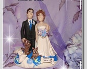 Wedding Cake Topper, Custom made to look like you, Bride and Groom with Cats