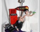 Hot Rod Garage Wedding Cake Topper