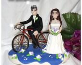 Bicycle Bride & Groom, Wedding Cale Topper, Personalized, Custom