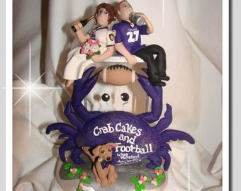 Football Wedding Cake Topper with Crab by, Enchanted You