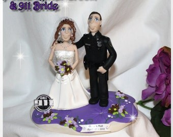 Wedding Cake Topper, Police Officer Groom, 911 Bride, Personalized