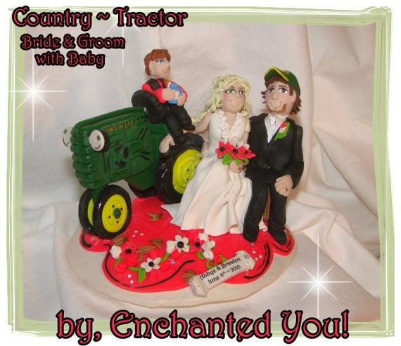 Items Similar To Country Farm Tractor Wedding Cake Topper On Etsy