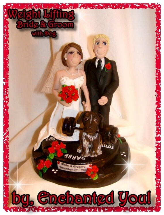 Weight Lifting Wedding Cake Topper with Dog
