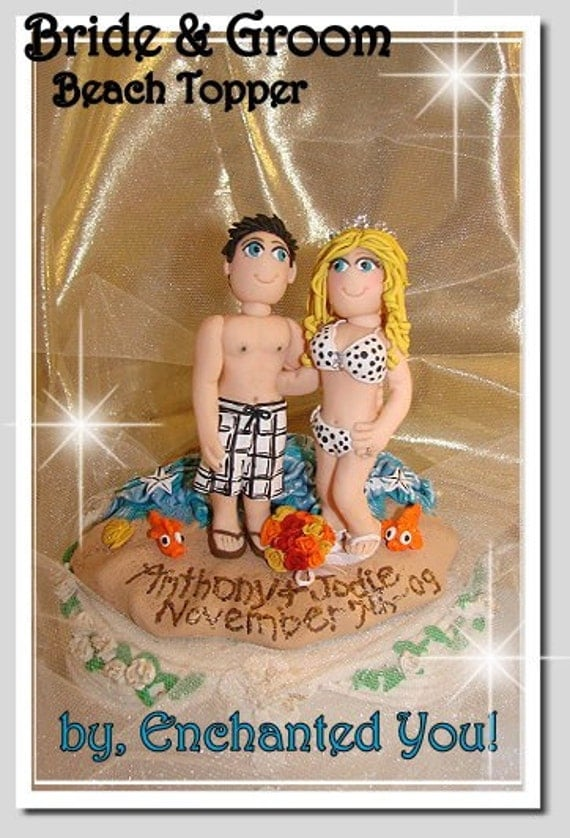 Tropical Beach Swimsuit Bride and Groom Wedding