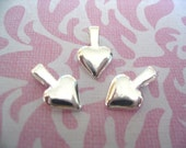HEART BAILS - 50 Small Silver Plated Heart Shaped Bails. Great for Scrabble and Glass Tiles and Gemstones...SHB
