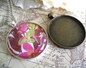 5pc Large Circle Pendant Trays...with Glass Inserts...Size 38mm...Mix and Match
