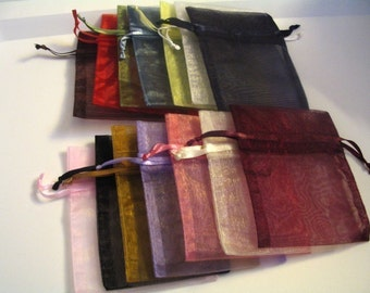 12 Assorted or Solid Color Organza Bags