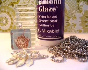 The Original BUNDLE PACK...20...1 INCH Glass Tiles...20  Bails....20 Ball Chains...2oz Diamond Glaze