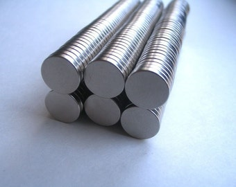 100 Neodymium Rare Earth Magnets...Size 3/8 x 1/16