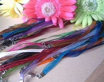 10 Beautiful Organza Ribbon Cord Necklaces. Great for Cabachons, Scrabble and Glass tile pendants
