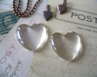 5pk...Heart Glass Tiles...Cabochons...25mm...Great for pendants and ornaments.