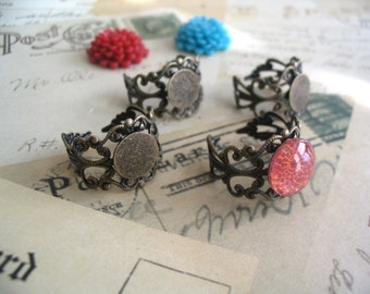 25 Antique Brass Filigree Rings