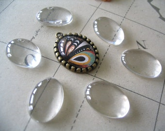 10pk...Size 18x25mm...Oval Glass Tile Cabochon......Great for pendants or earrings.