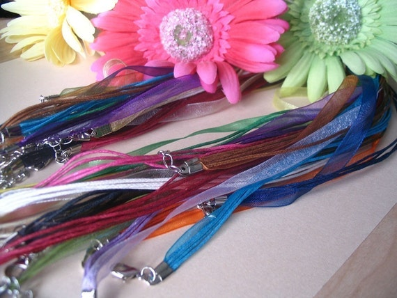 100 Beautiful Organza Ribbon Cord Necklaces. Great for Cabachons, Scrabble and Glass tile pendants