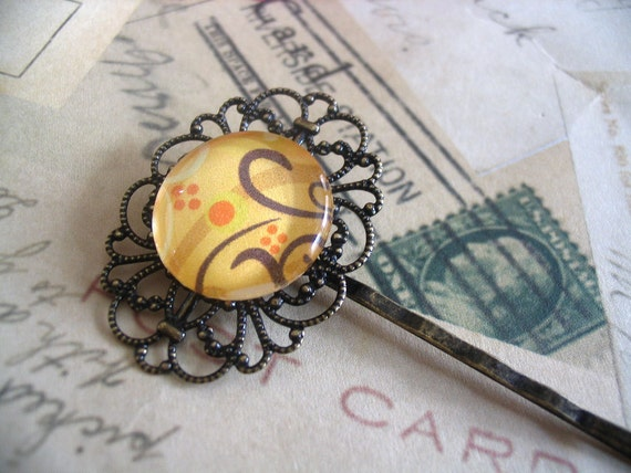 10 Antique Brass Filigree Hair Pins. Great for cabochons, or glass tiles...ABFHPNS