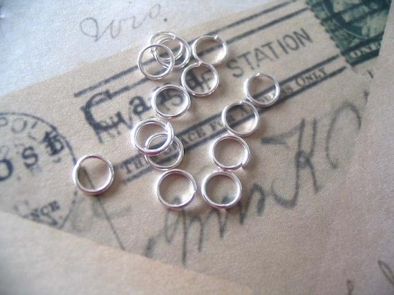 50...6mm Shiny Silver Split Jump Rings