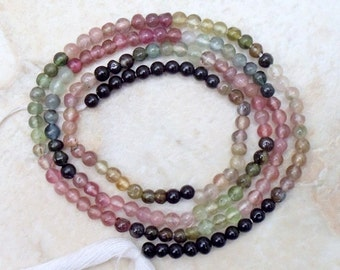 COLORFUL 2.5 mm Round TOURMALINE Gemstone Beads 14.5 Inch strand ETSY-8