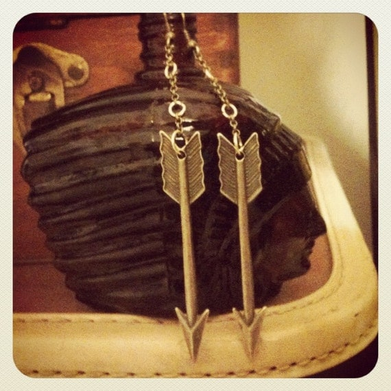 Long bronze arrow earrings