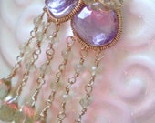Orchid Earrings (goldfilled wire wrapped with pink and yellow gemstones)