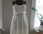 1970's sheer white floral print and lace sun dress sm HOLD FOR JP