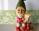 Vintage Gnome Figurine Woodland Animal Fawn Harp Music