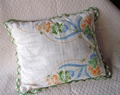 Vintage Linen Decorative Throw Pillow Embroidered Needlework 1950