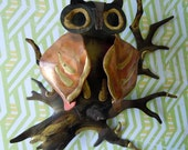 Vintage Metal Owl Sculpture Art Wall Decor 1970 Copper