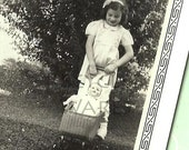 Vintage Photograph Little Girl Baby Doll Buggy Black and White 1940
