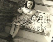 Vintage Photograph Little Girl Baby Dolls Black and White 1940