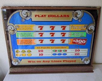 1980s Slot Machine Glass Window Panel Lucky Seven Lotto Game Coin Machine Casino Game