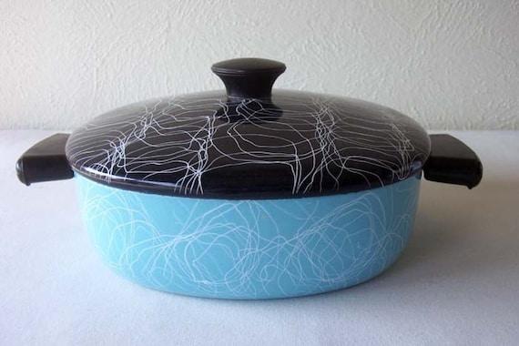 Vintage 1950 Modern Enamelware Casserole Covered Dish Pan Pot Mid Century Blue Home Decor
