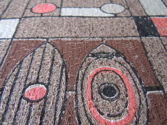 Vintage Hawaiian Tiki Barkcloth Fabric All Cotton