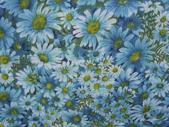 1 Yard Fabric Vintage 1950s Cotton Floral Aqua Blue and Olive Green