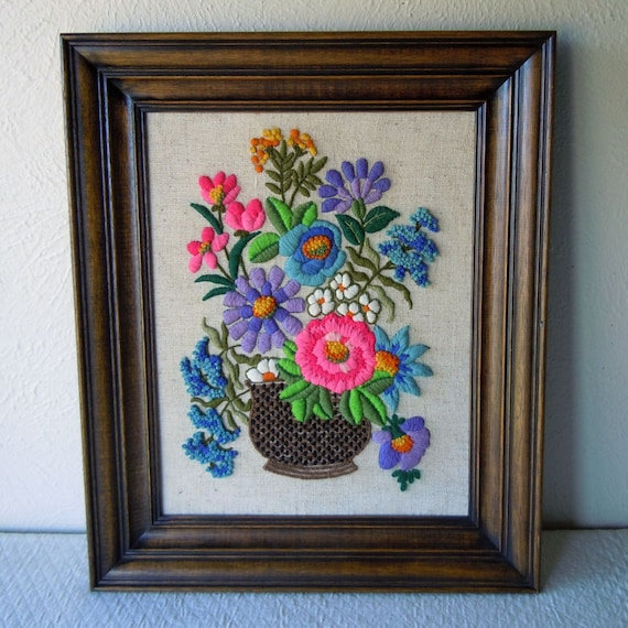 Vintage Framed Embroidery Crewel Needlework Picture Flowers Wooden Frame