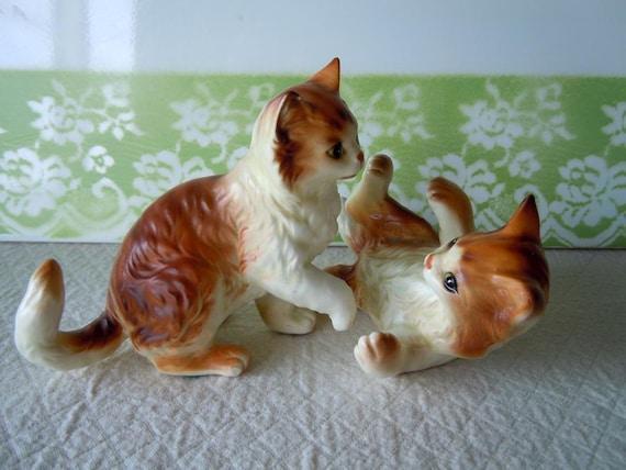 Vintage Cat Figurines Ceramic Mid Century