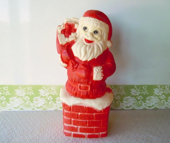 RESERVED Vintage 1960s Christmas Decoration Santa Claus Light Blow Mold