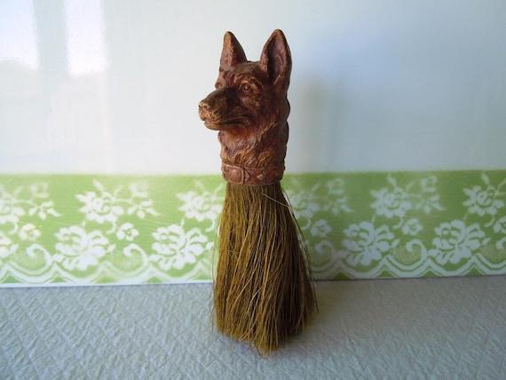 Vintage 1940 Clothing Brush German Shepherd Dog Figural Head
