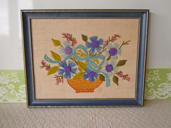Vintage Framed Embroidery Crewel Needlework Pictures Flowers Wooden Frame