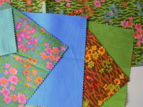 Vintage 1970 Fabric Samples Green Blue Red Yellow Pink Floral