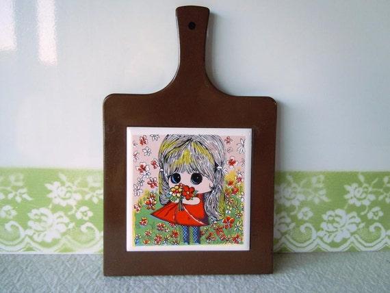 SALE 40% OFF Vintage 1970 Kitchen Trivet Hot Pad Plate Big Eyed Girl Art Tile