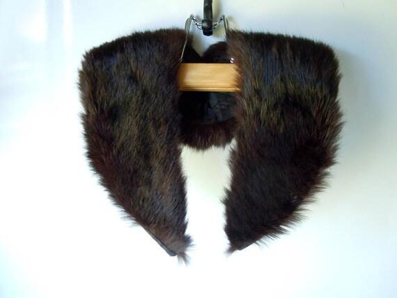 Vintage Fur Collar 1960 Dark Chocolate Brown
