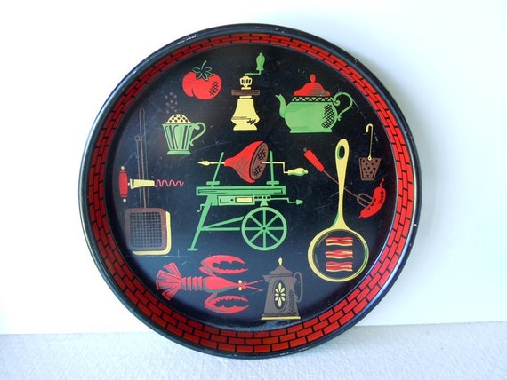Vintage Mid Century 1950 Alcohol Serving Tray Black Primary Colors