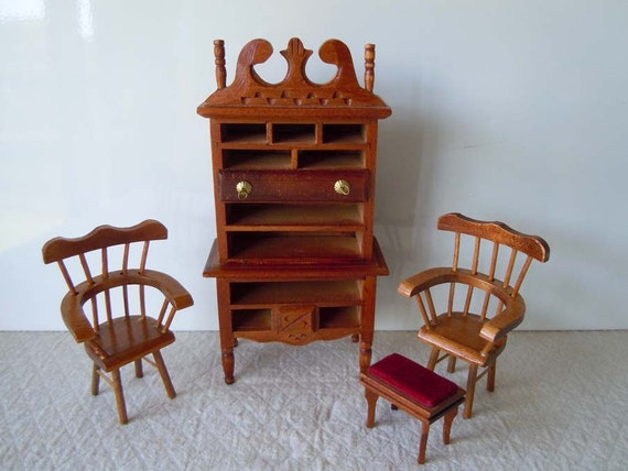 Vintage 1980 Brown Wood Dollhouse Furniture Dresser Footstool Chairs
