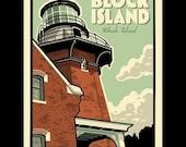 Block Island - Southeast Lighthouse silkscreen print