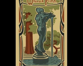 Wilcox Park - Westerly silkscreen print