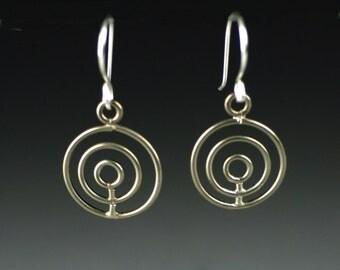 Ring in Ring Earrings, three hoop earings, three silver rings earrings