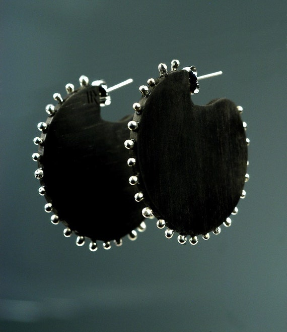 Big Black Earrings with Silver