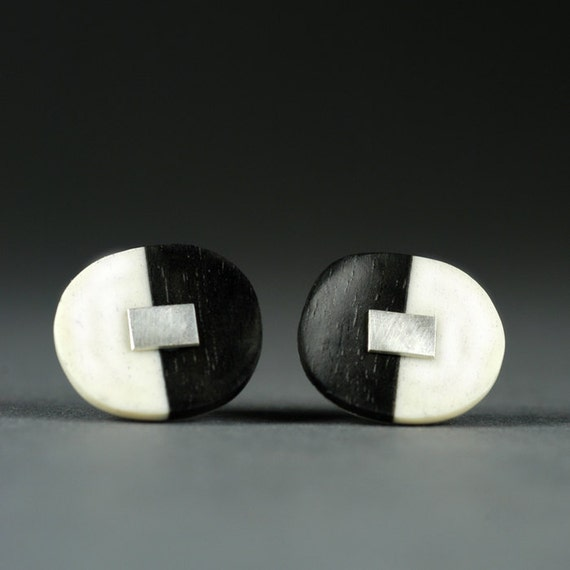 Black, White & Silver Oval Earrings