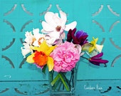 Turquoise Multicolored Spring Fling Floral Bouquet - 8 x 10 Fine Art Photography Print