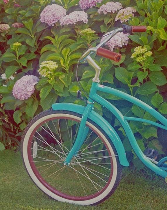 Pink Hydrangeas & Turquoise Beach Cruiser - 8 x 10 Fine Art Photography Print